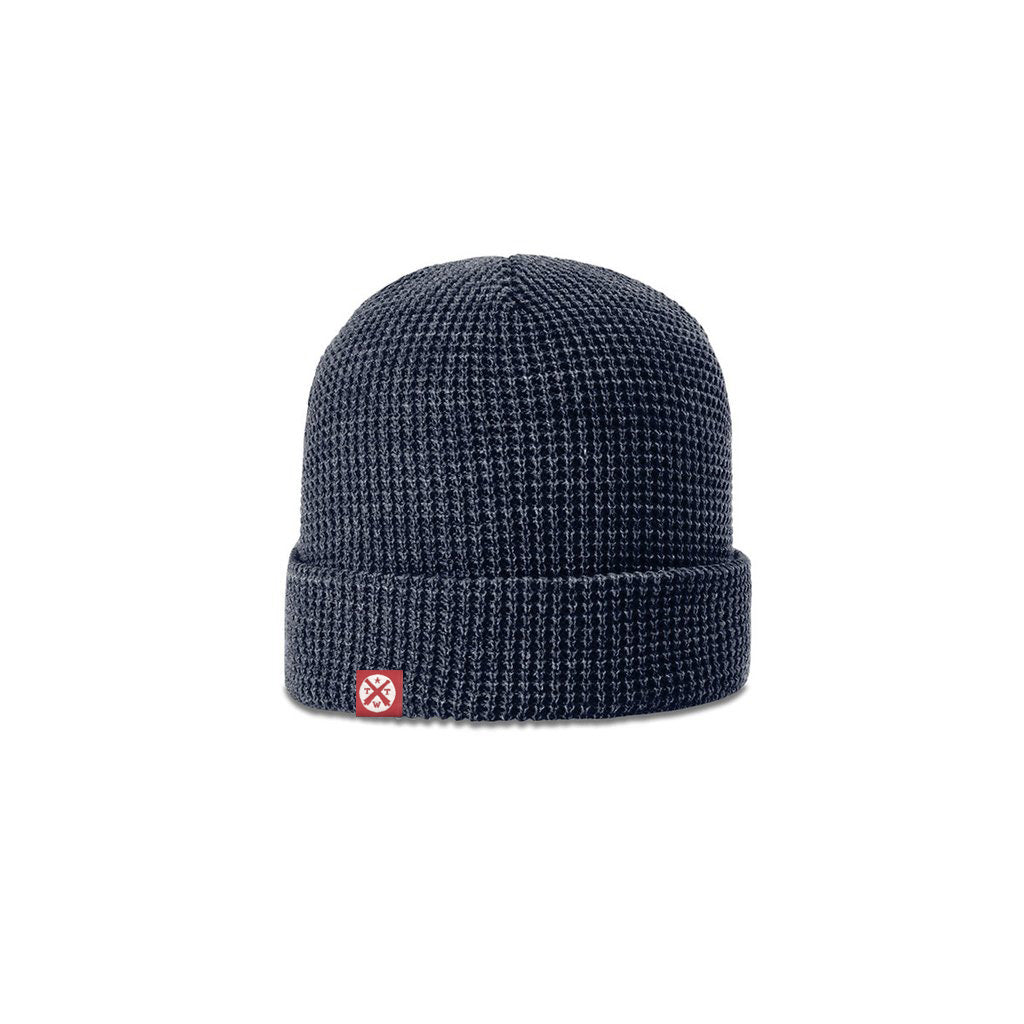 TWT Waffle Knit Beanie (Navy) - Tumbleweed TexStyles