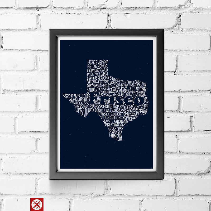 Frisco Education Foundation Texas - 11 X 14 Print - Tumbleweed TexStyles