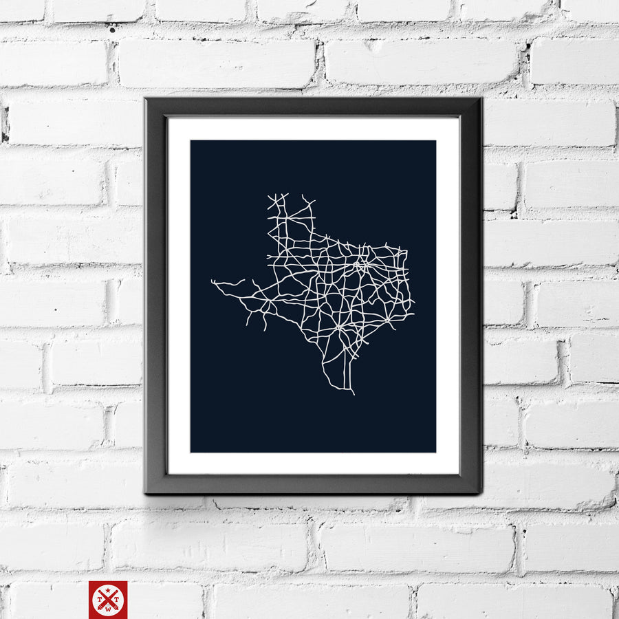 Road Map of Texas 11 x 14 Print