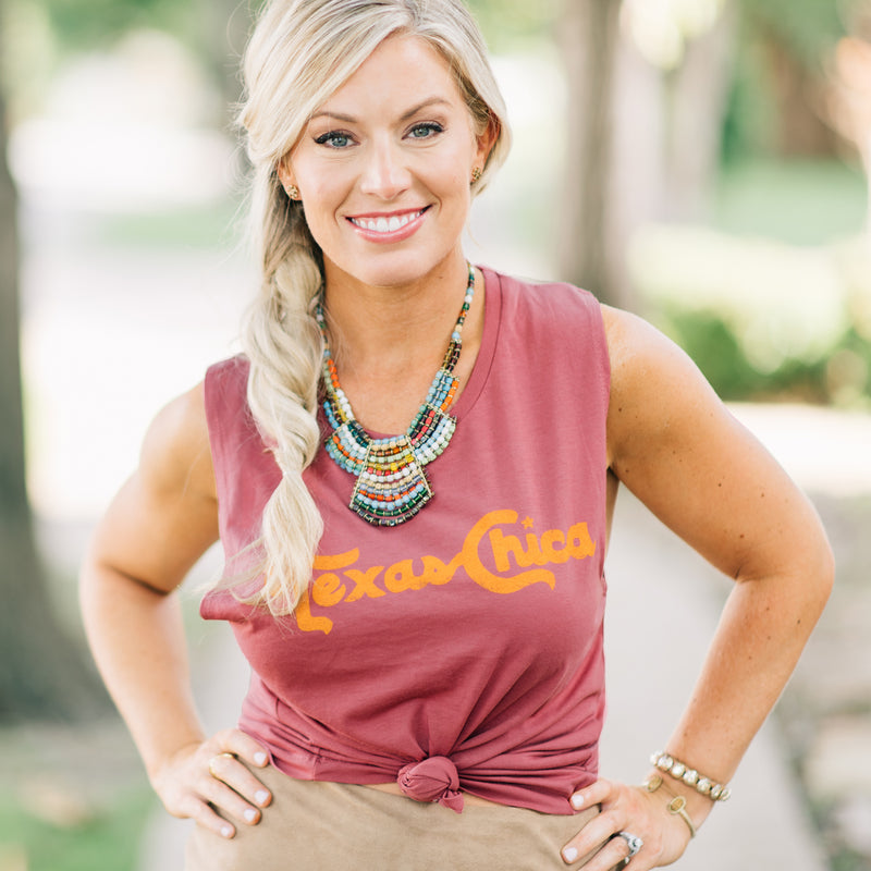 Texas Chica - Women's Muscle Tank (Smoked Paprika) - Tumbleweed TexStyles