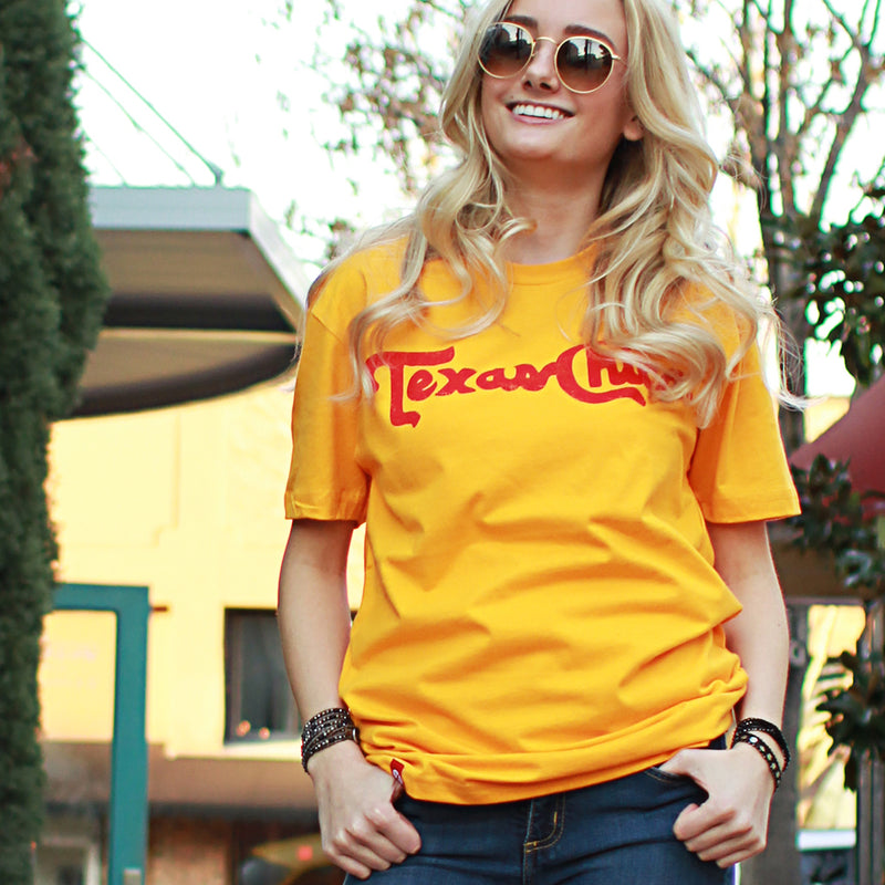 Texas Chica T-shirt (Gold or Cardinal) - Tumbleweed TexStyles