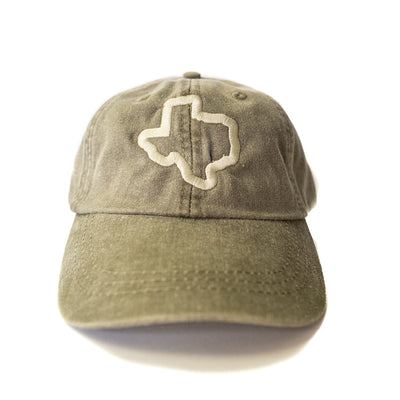Thick Texas Outline - Washed Cotton Twill Hat (Cactus) - Tumbleweed TexStyles