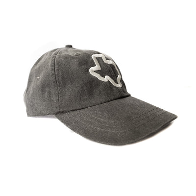 Thick Texas Outline - Washed Cotton Twill Hat (Black) - Tumbleweed TexStyles