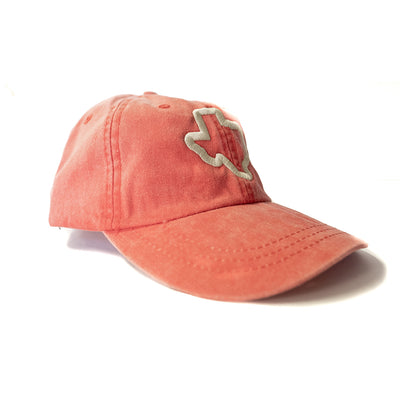 Thick Texas Outline - Washed Cotton Twill Hat (Red) - Tumbleweed TexStyles