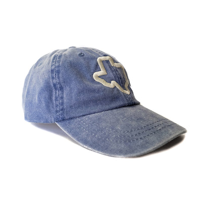 Thick Texas Outline - Washed Cotton Twill Hat (Royal) - Tumbleweed TexStyles