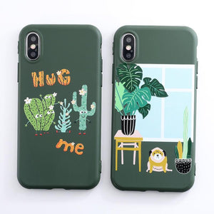 Cartoon Plants Cactus Phone Case Silicone Cover iPhone 6 7 8 X