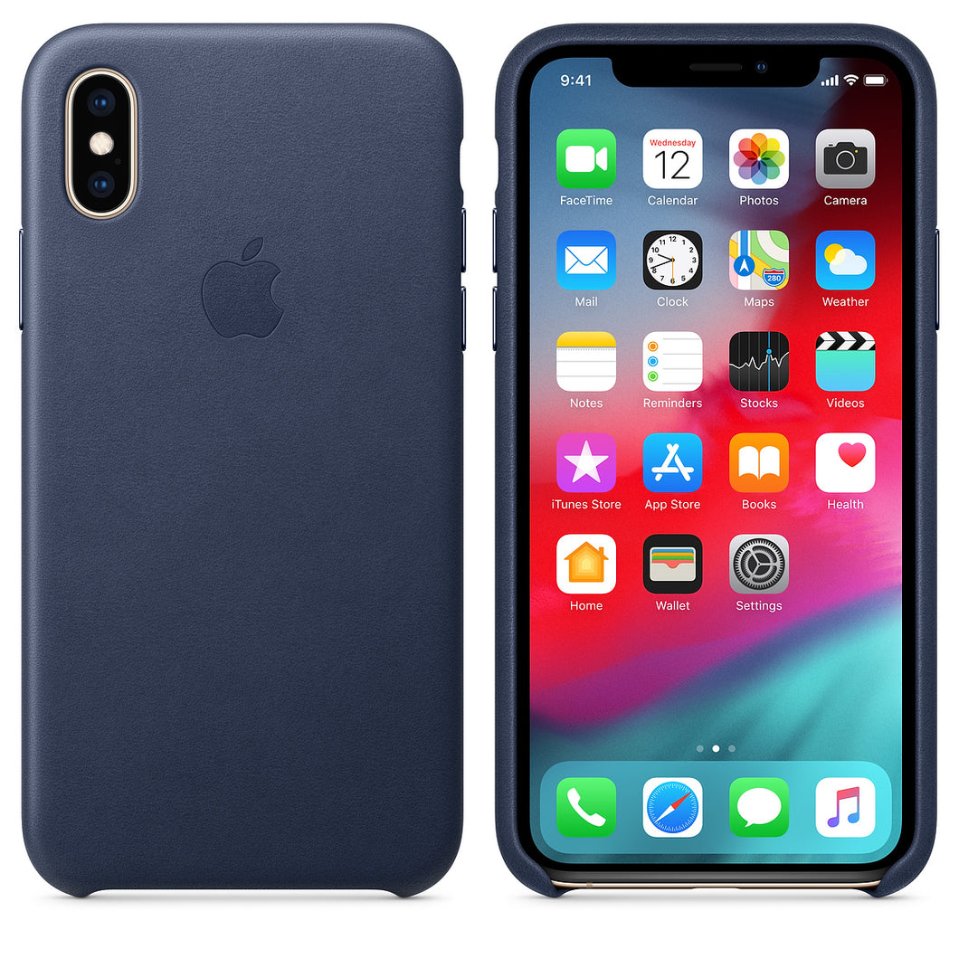 Custodia in pelle originale Apple per iPhone XS Max - Blu profondo