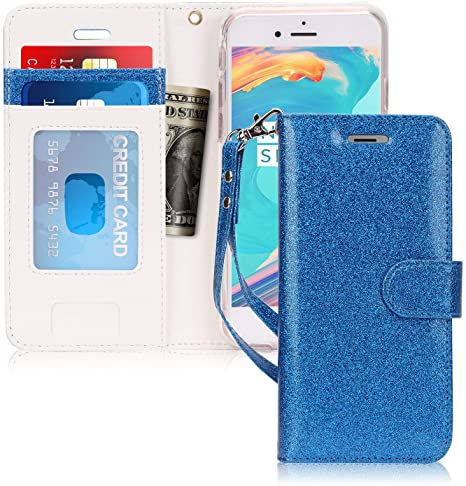 Custodia per Apple iPhone 6 4.7 Wallet Fronte trasparente AZZURRA
