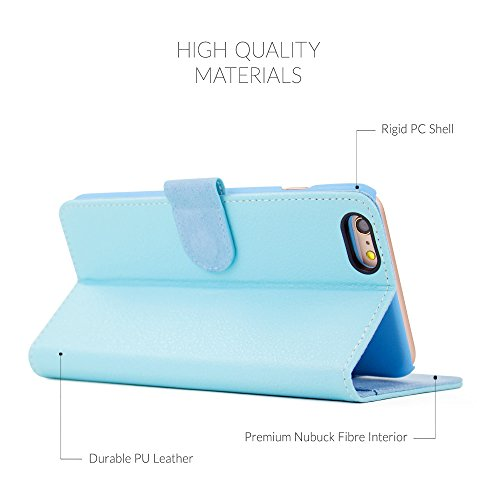 Custodia per iPhone 6 Plus Snugg - Custodia Azzurra a Libretto in