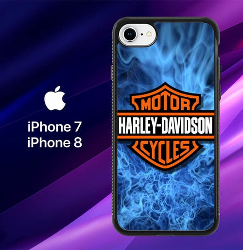 Harley Davidson Blue Flame X4978 custodia cover iPhone 7 , iPhone 8