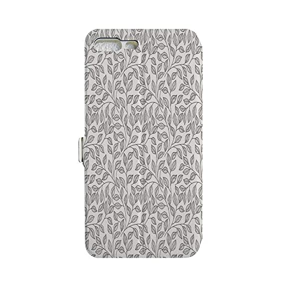 grey black flower and leaf flip pu leather cover case for iPhone 7