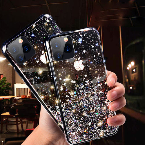 Per iPhone 11 Pro Max XR XS X 8 7 6 QUADRATO Bling Glitter Sparkle custodia  morbida