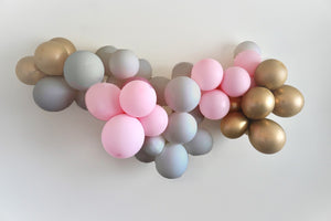 DIY Balloon Garland - Grey, Pastel Pink and Gold (or Silver)