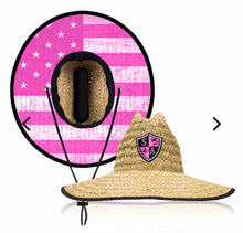 Load image into Gallery viewer, Pink American Flag Straw Hat