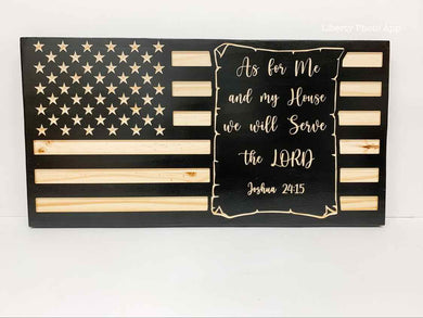 United States of America Wood Flag with Bible Verse
