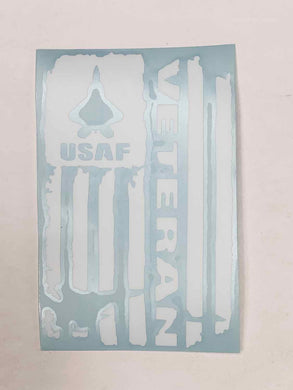 USAF Veteran Vinyl Decal - White