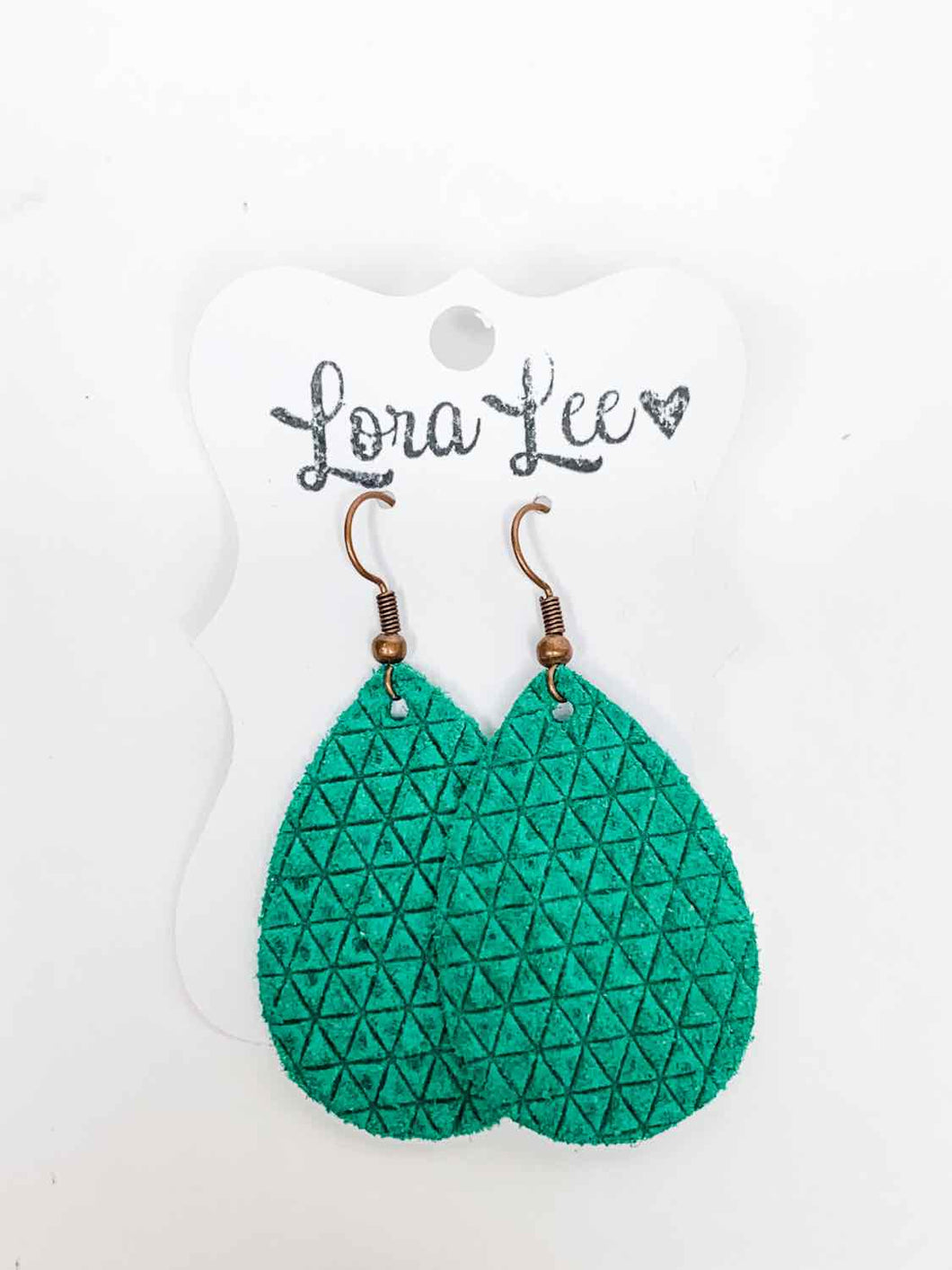 Kelly Green Leather Earring - Small Teardrop
