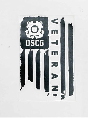 USCG Veteran Vinyl Decal - Black