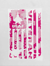 Load image into Gallery viewer, USAF Veteran Vinyl Decal - Pink Camo