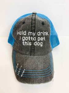 Hold My Drink I Gotta Pet this Dog - Trucker Hat - Bright Blue