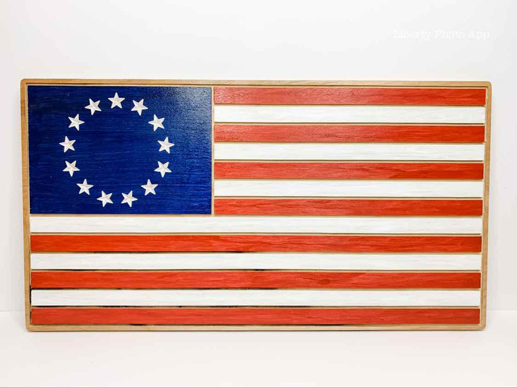 Betsy Ross Wood Flag with White Stripes - Medium