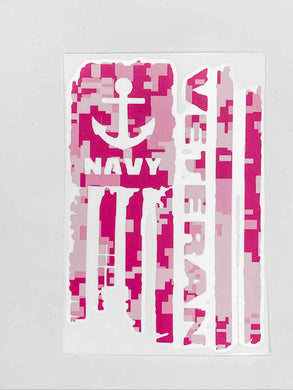 Navy Veteran Vinyl Decal - Pink Camo