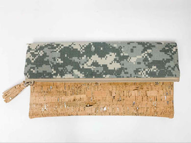 Re-purposed Military Uniform with Cork - Clutch