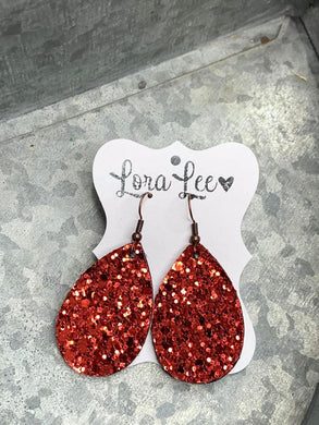 Red Sparkle Tear Drop Shaped Leather Earrings - small