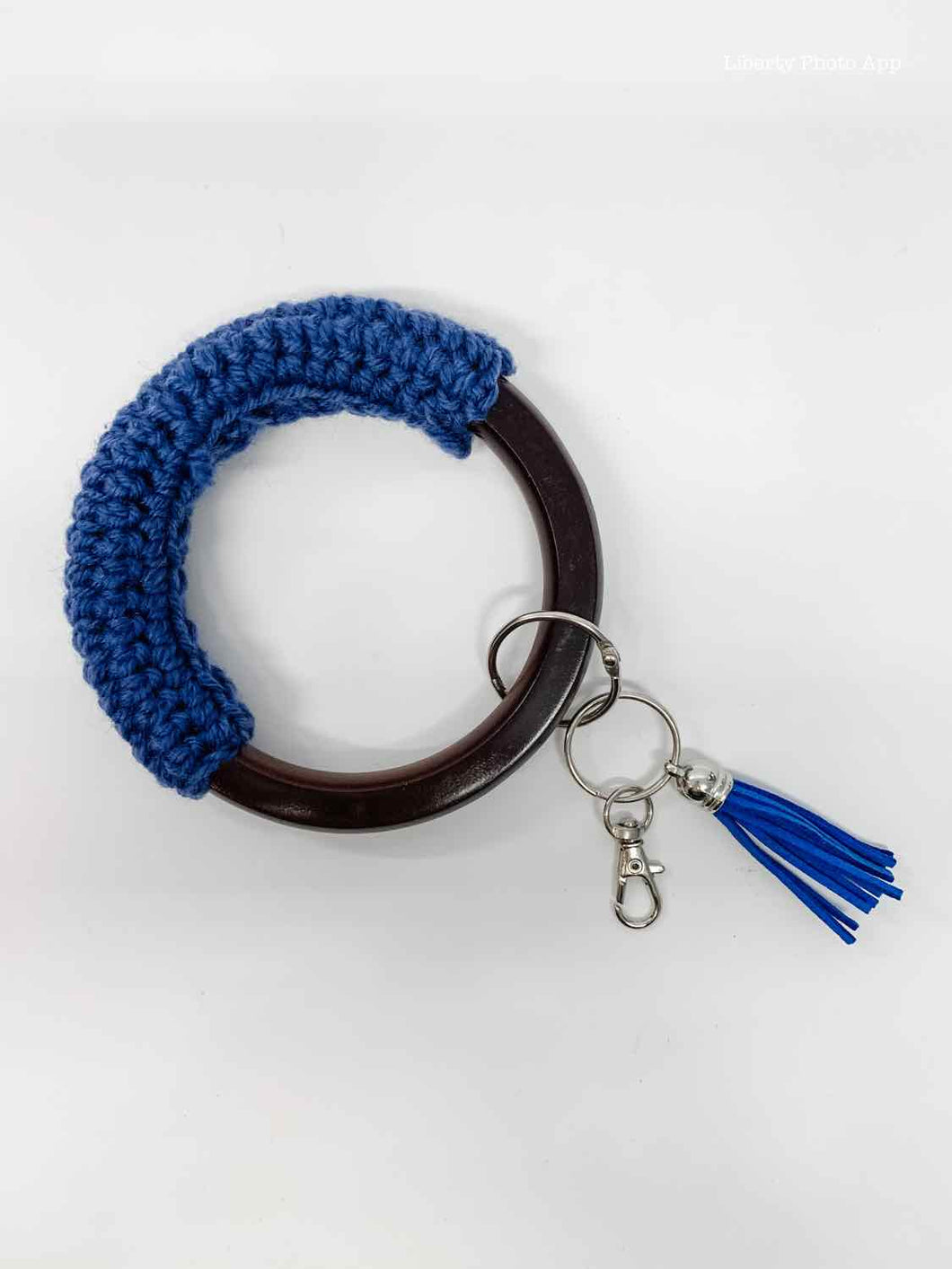 Key Chain Bangle - Wood and Crochet - Navy Blue