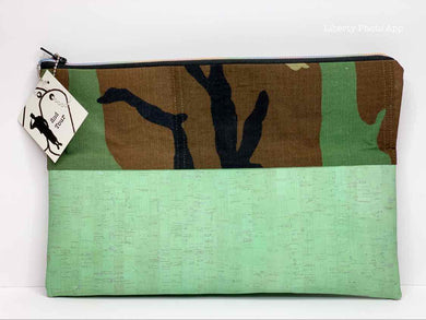 Zippered Pouch - Mint Green Cork & BDU