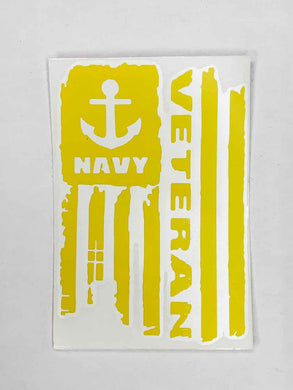 Navy Veteran Vinyl Decal - Yellow