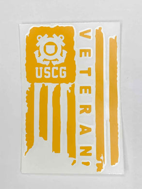 USCG Veteran Vinyl Decal - Yellow