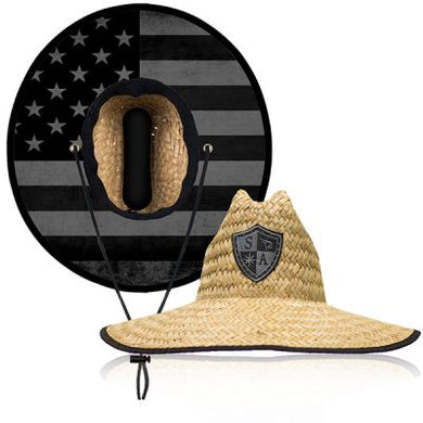 Black & Grey American Flag Straw Hat