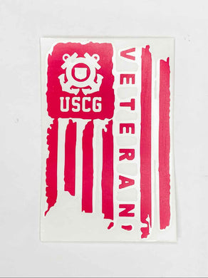 USCG Veteran Vinyl Decal - Bright Pink
