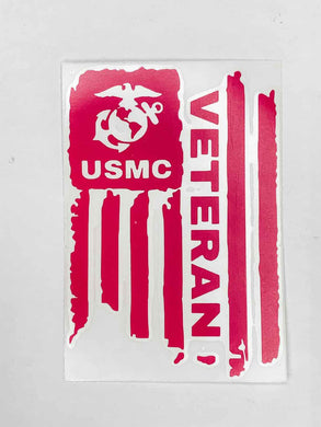 USMC Veteran Vinyl Decal - Bright Pink