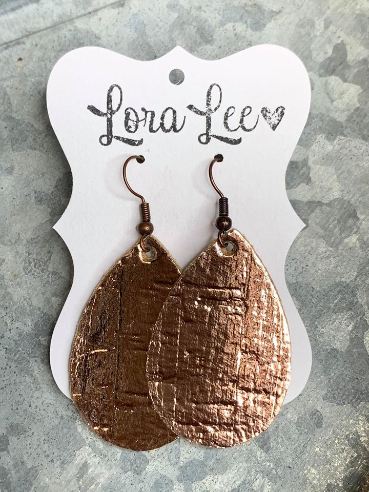 Metallic Shimmer TearDrop Shaped Leather Earrings - Small