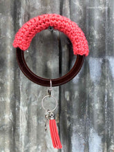 Load image into Gallery viewer, Key Chain Bangle - Wood and Crochet - Coral