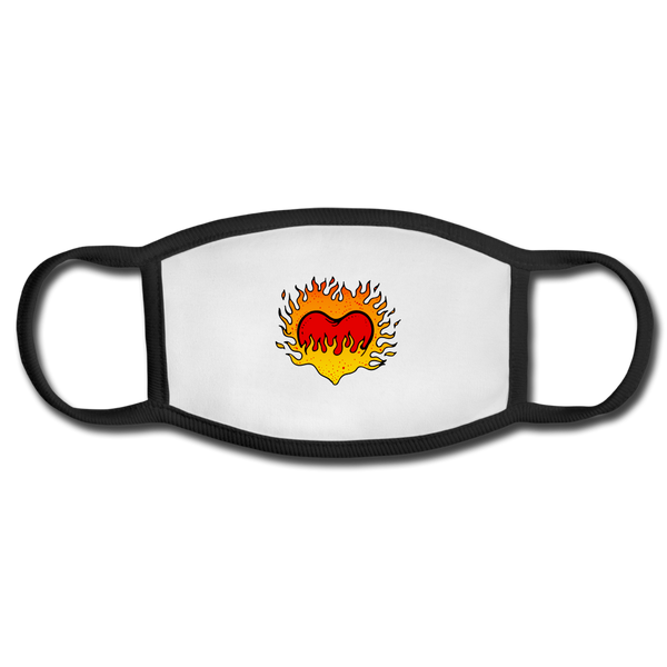 Flaming Heart Face Mask - white/black