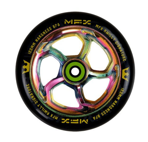 MGP MFX Hurricane RWilly 120mm (SINGLE) - Scooter Wheel Oilslick Neo Chrome