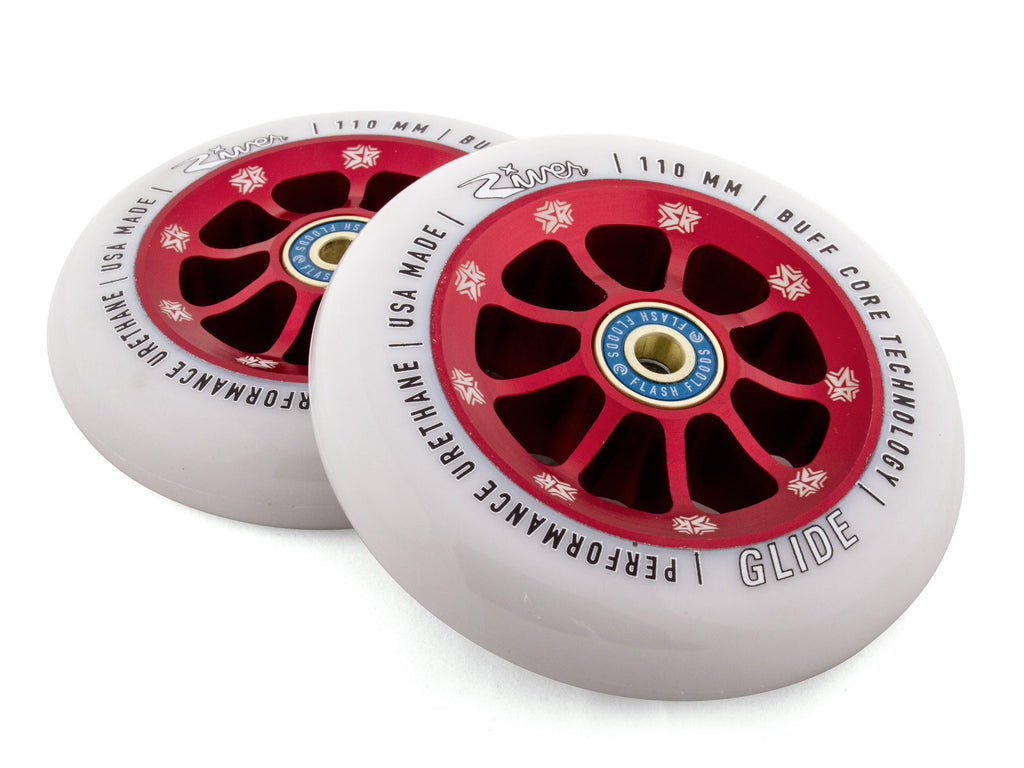 River Glide Wheels - PAIR, 110mm, Scooter Resource Collab  (Light Gray on Red)