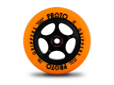 Proto Gripper Wheels - PAIR, 110mm Day-Glo (Neon-Orange On Black)