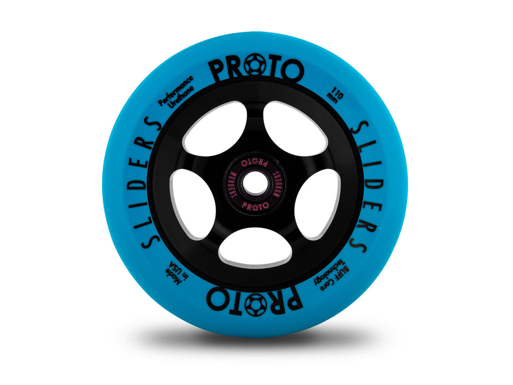 Proto Slider Wheels - PAIR (Neon-Blue On Black)