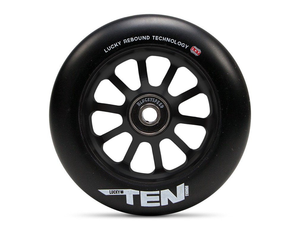 Lucky Ten 110mm Wheel, Black Urethane, Black