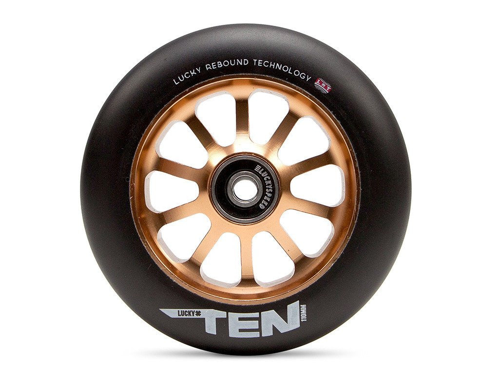 Lucky Ten 110mm Wheel, Black Urethane, Copper