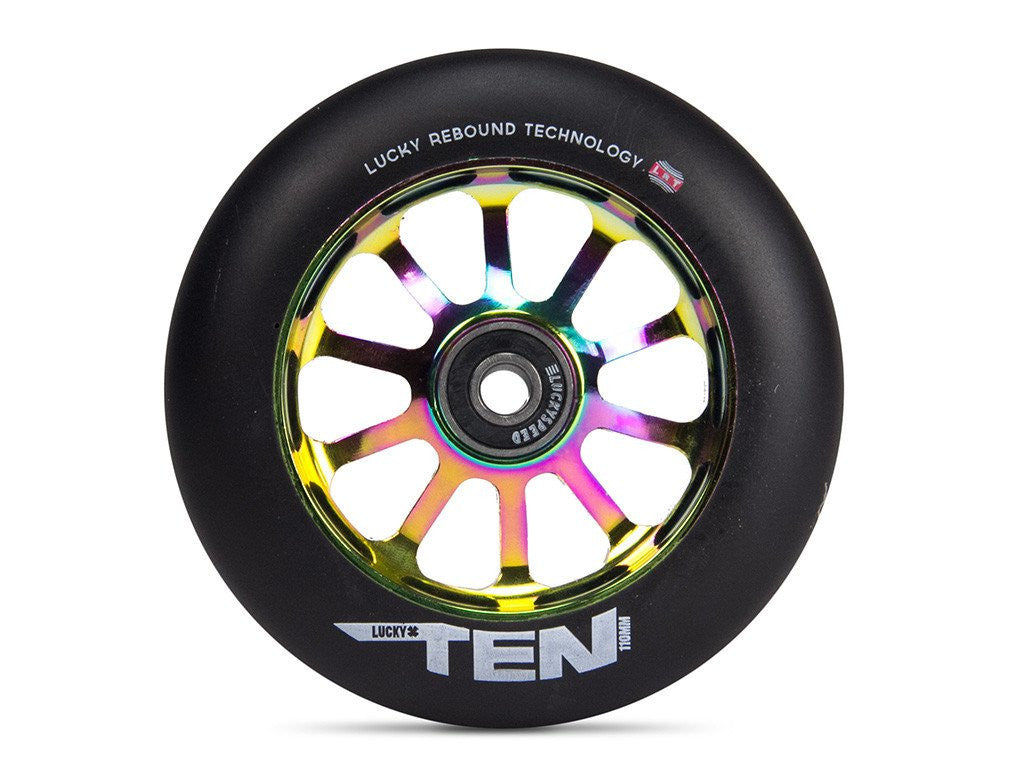 Lucky Ten 110mm Wheel, Black Urethane, Oil Slick