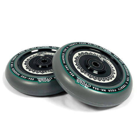 North Scooters Vacant 110mm Grey PU (PAIR) - Scooter Wheels Black Core