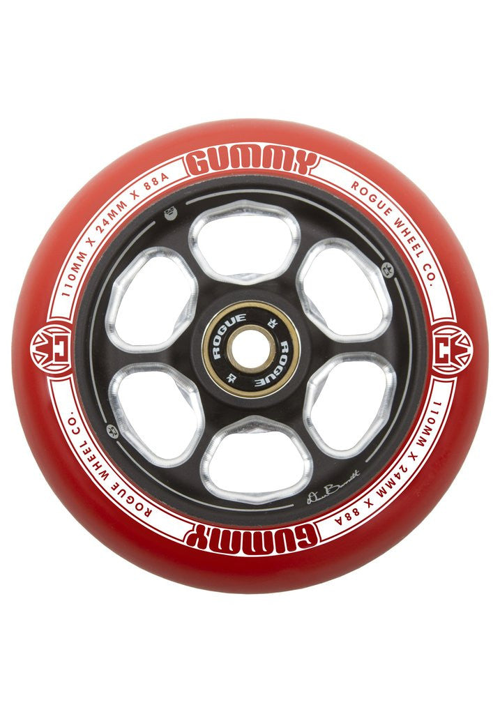 Rogue Dan Barret Signature Gummy (Pair), Scooter Wheels, Red Black