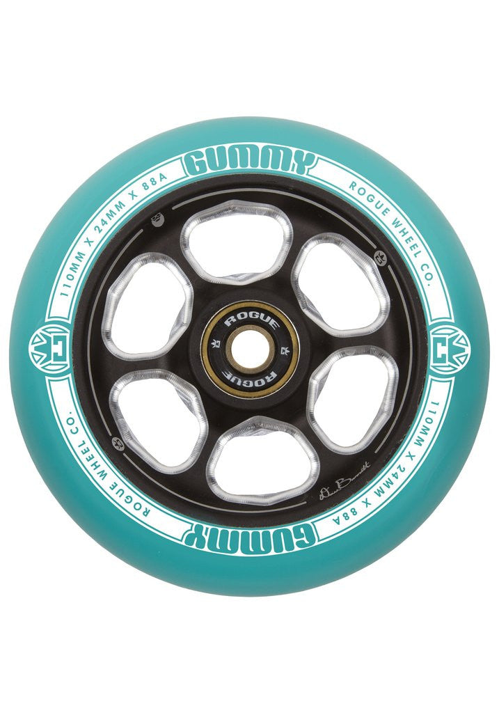 Rogue Dan Barret Signature Gummy (Pair), Scooter Wheels, Green Black