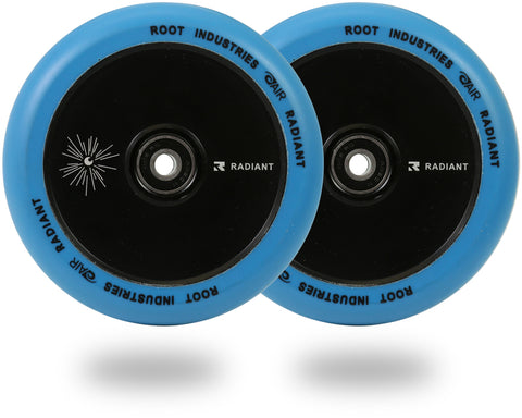 Root Industries AirWheels Radiant 120mm Black Urethane (PAIR) - Scooter Wheels Blue