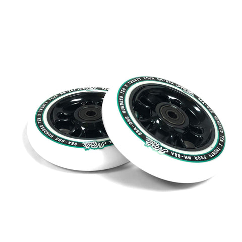 North Scooters Wagon 110mm White PU (PAIR) - Scooter Wheels Black
